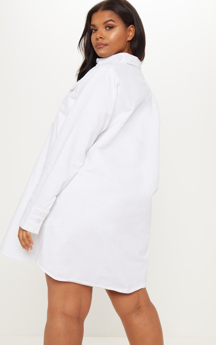 Plus White Pocket Detail Oversized Shirt Dress 2
