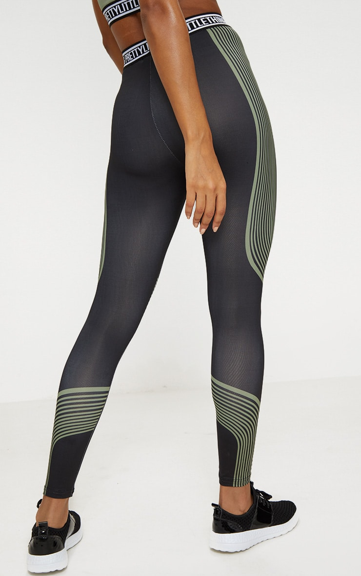 PRETTYLITTLETHING Khaki Stripe Contour Leggings 4