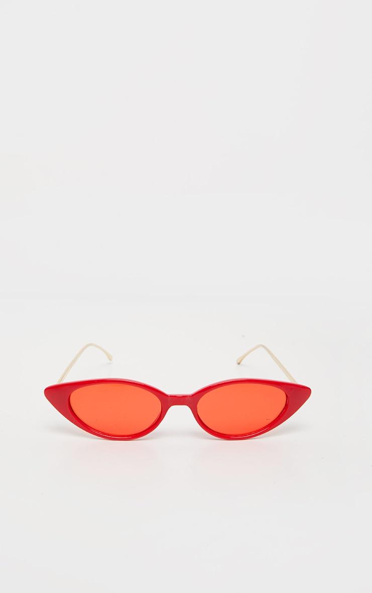 Red Cat Eye Retro Frame Sunglasses 2