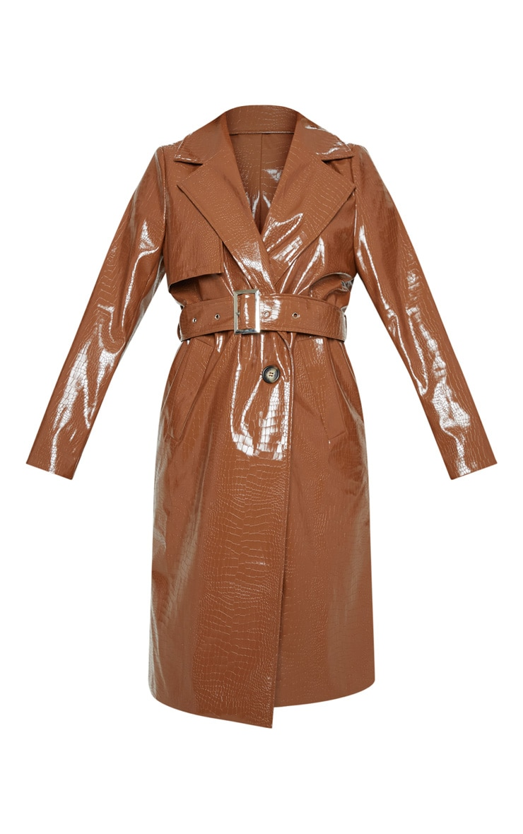 Tan Croc PU Trench 3