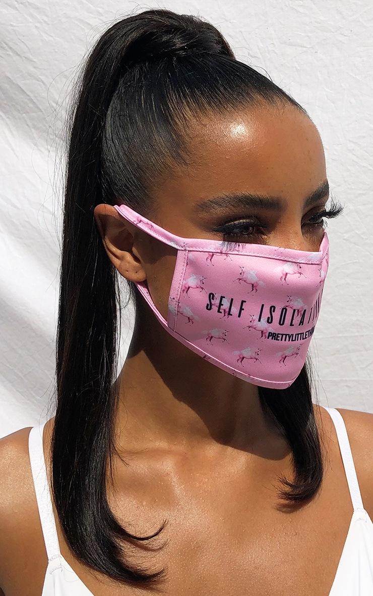 PRETTYLITTLETHING Pink Unicorn Self Isolation Club Fashion Mask 2