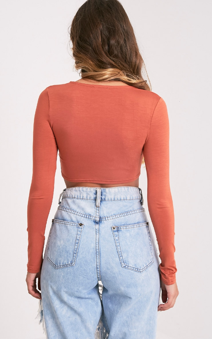 Ali Deep Peach Jersey Longsleeve Crop Top 2