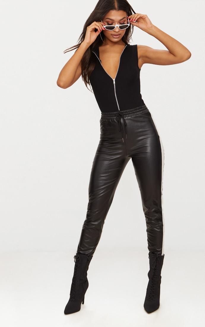 Black Rib Zip Front Thong Bodysuit  5