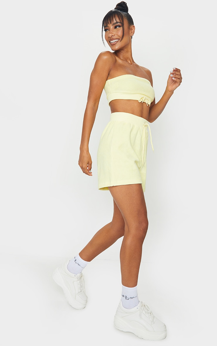 Yellow Drawstring Tie Towelling Bandeau 3