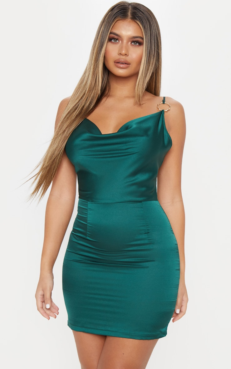 Emerald Green Satin Cowl Neck Ring Detail Bodycon Dress 4