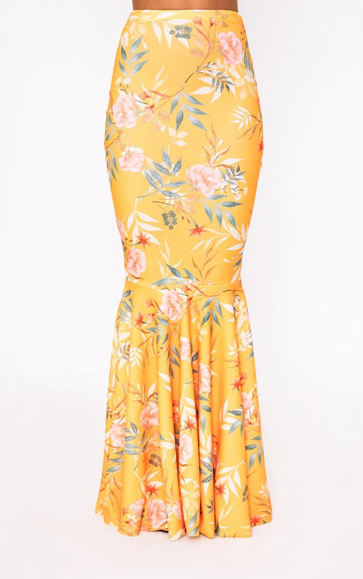 Orange Tropical Print Fishtail Maxi Skirt 3