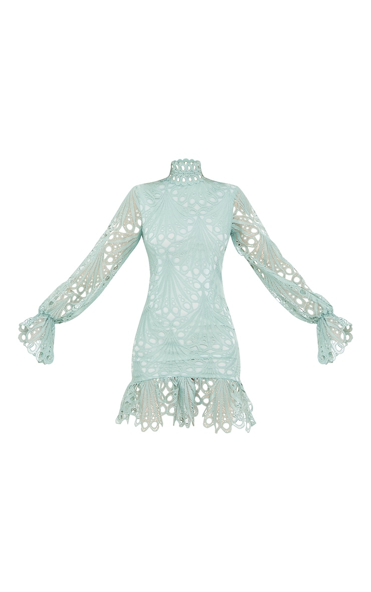 Sage Green High Neck Lace Long Sleeve Frill Bodycon Dress 5