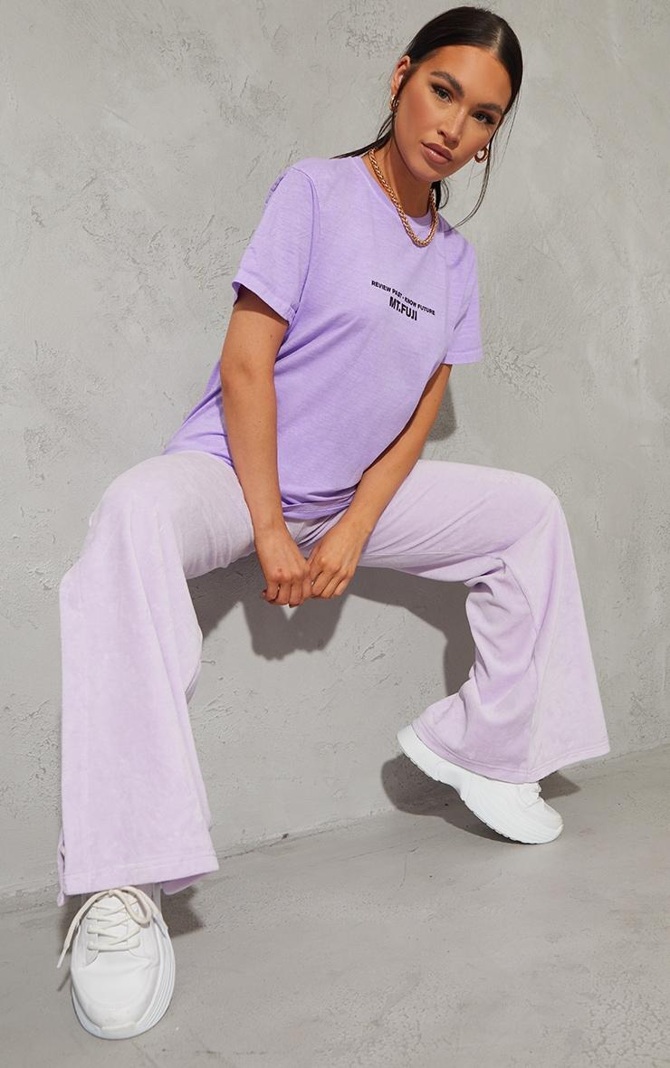 Lilac MT Fuji Front And Back Print Washed T Shirt 3