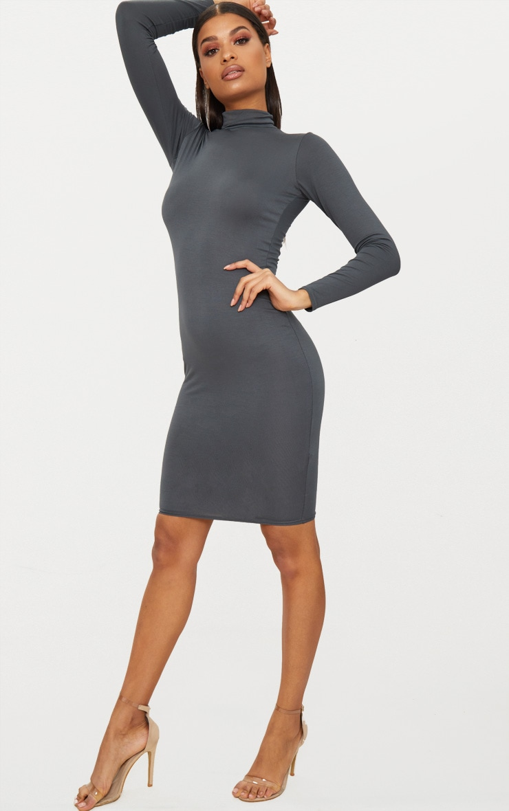 Basic Charcoal Grey Roll Neck Midi Dress 4
