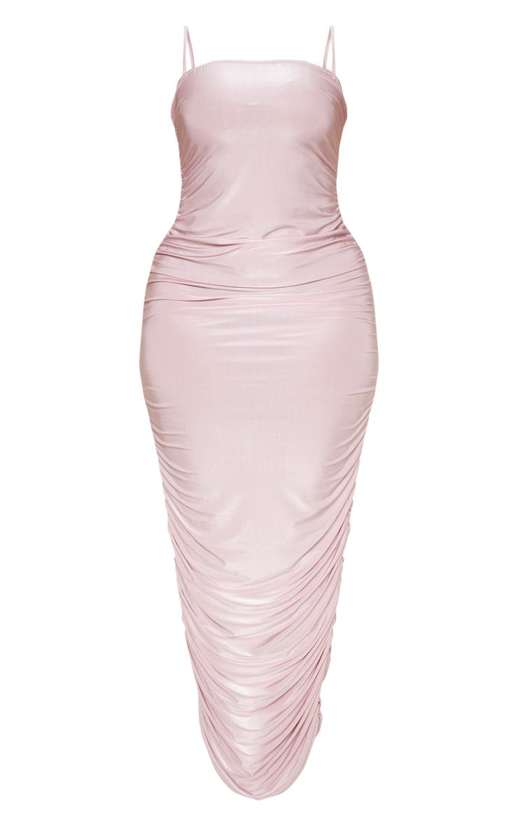 Plus Dusty Lilac Strappy Slinky Ruched Back Maxi Dress 3