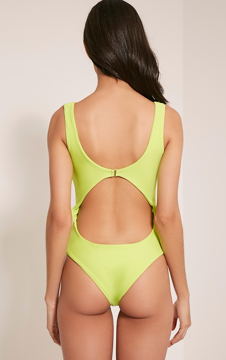 Talitha Lime Extreme Cut Out Swimsuit 2