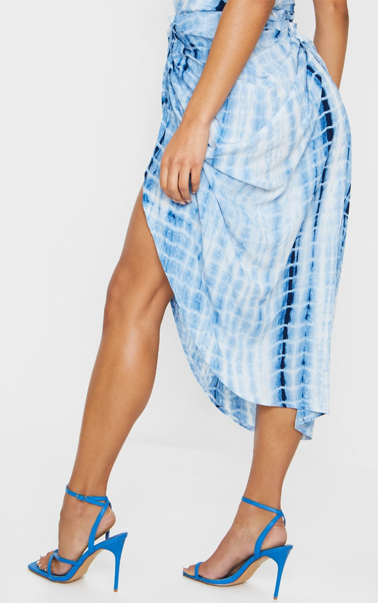Blue Tie Dye Ruched Side Midi Skirt 3