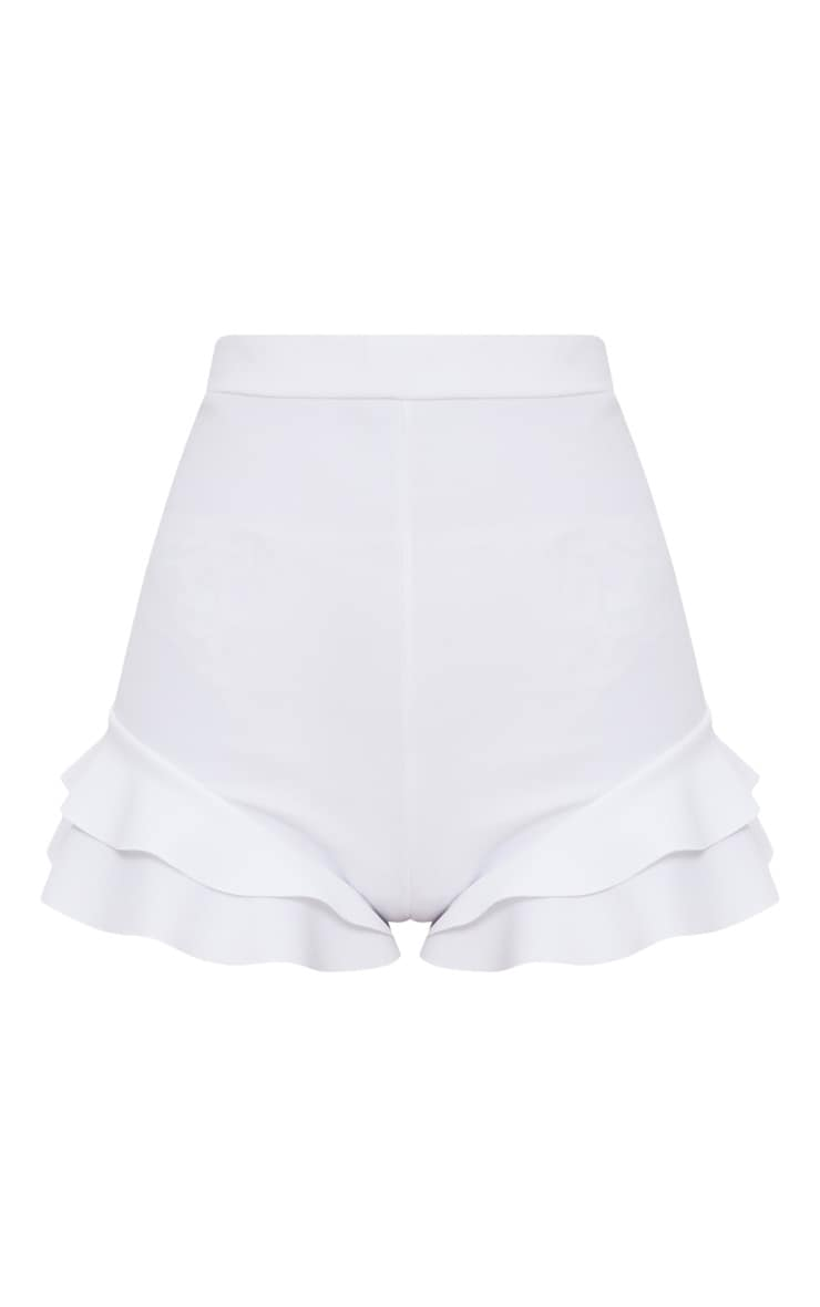 White Ruffle Detail Short 3