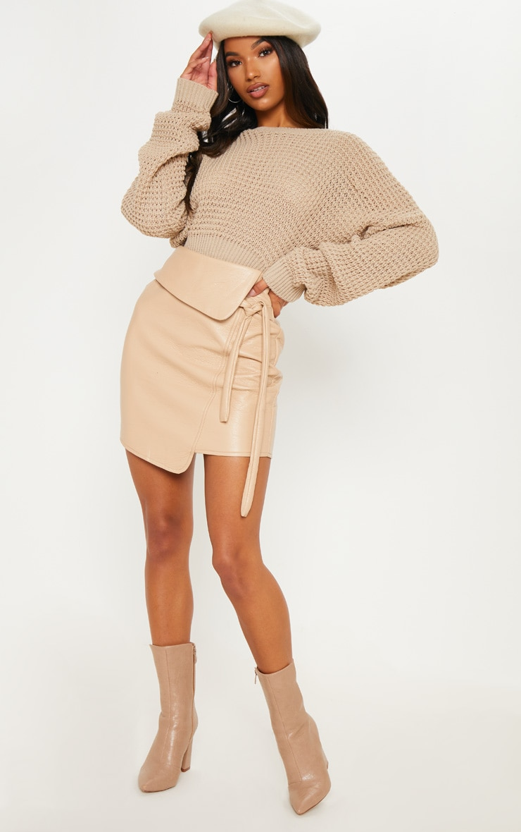 Stone Super Soft Faux Leather Tie Detail Mini Skirt