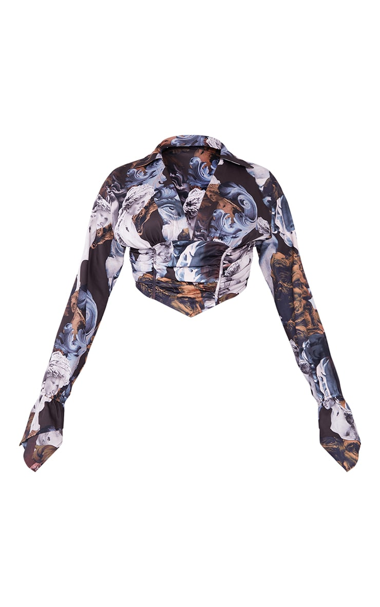 Brown Renaissance Woven Ruched Structured Waist Pointed Cuff Detail Crop Shirt 5
