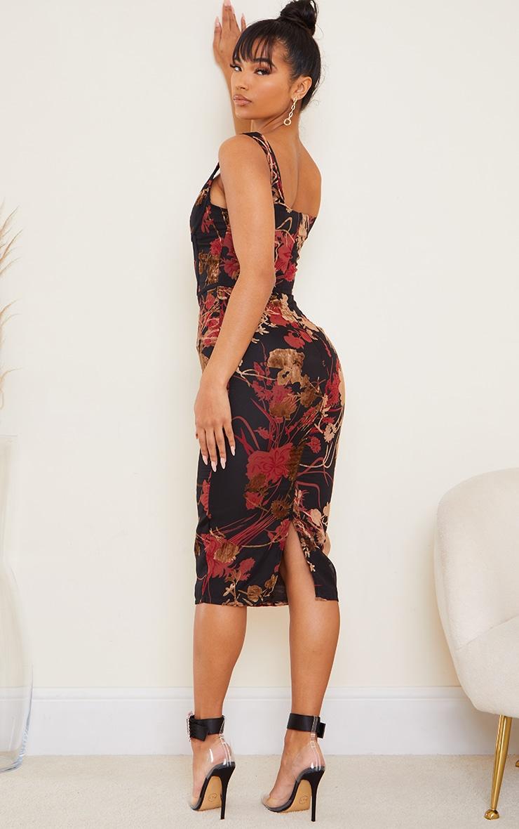 Multi Floral Flocked Sleeveless Corset Detail Midi Dress 2