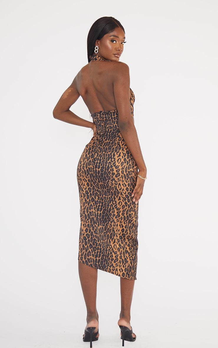 Tall Brown Leopard Ruched Under Bust Midi Dress 2