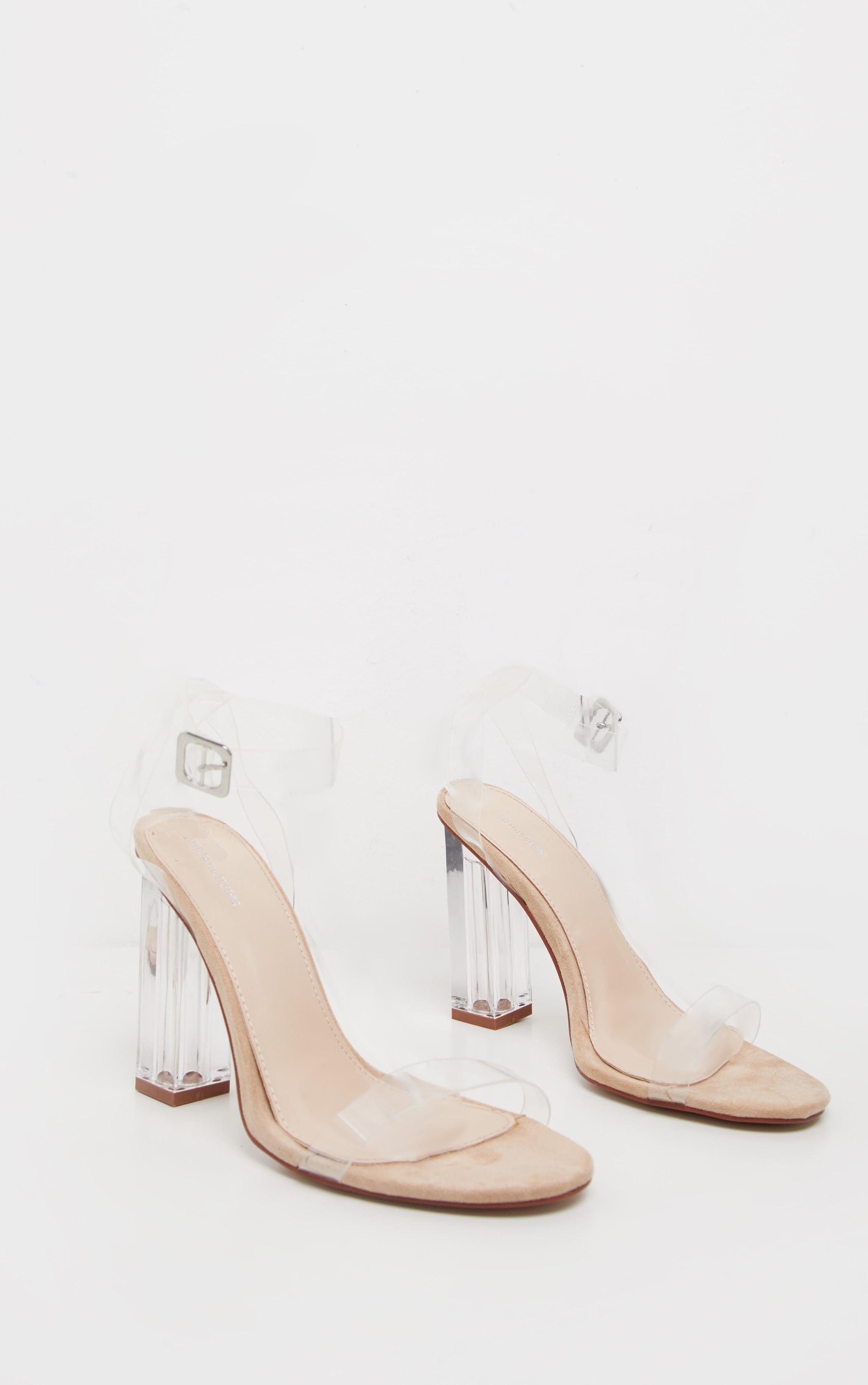 Nude Wide Fit Clear Block Heel Sandal 3