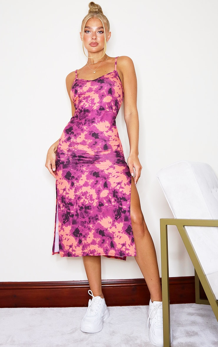 Pink Tie Dye Strappy Side Split Midi Dress 1