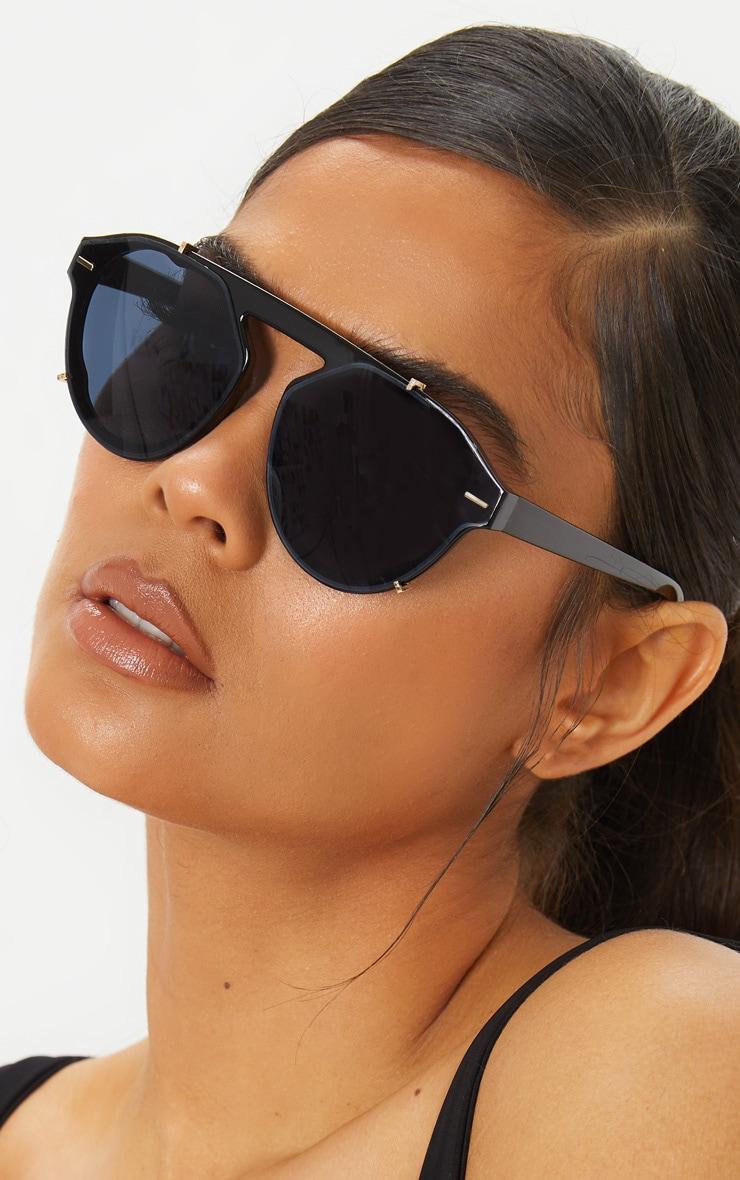 Black Frame Oversized Aviator Sunglasses 1