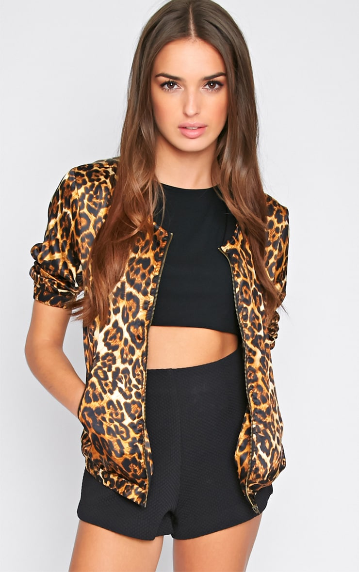 Hina Leopard Print Bomber Jacket  1