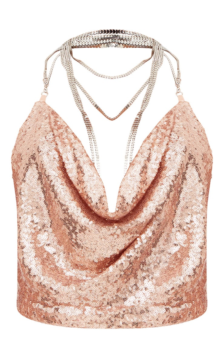 Rose Gold Cowl Neck Sequin Chain Crop Top 3