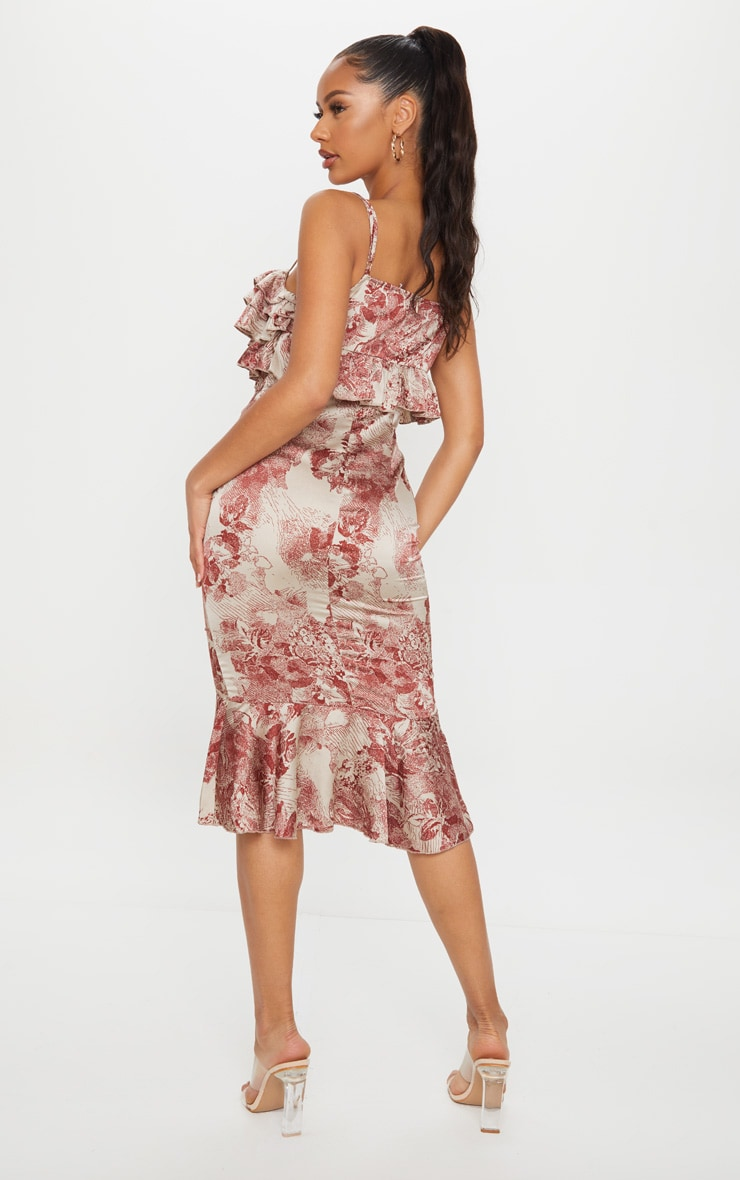 Burgundy Floral Ruffle Detail Gathered Front Midi Dress 2