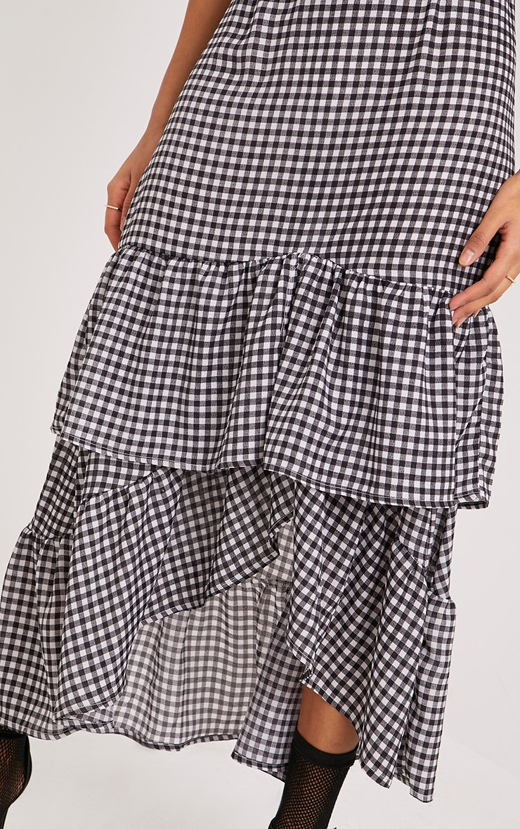 Kanayla Black Gingham Frill Midaxi Dress 3
