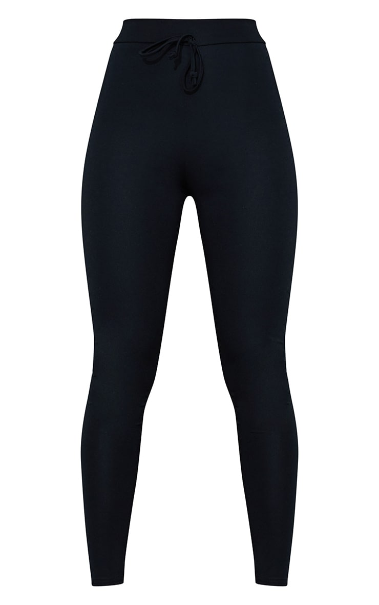Black Tie Front Super High Waist Sports Leggings 5