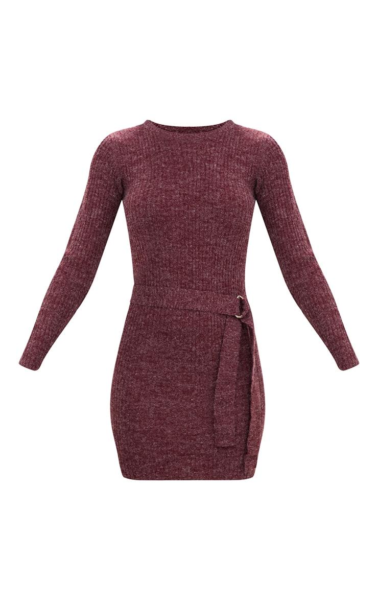 Dark Red Belt Tie Knitted Dress 3