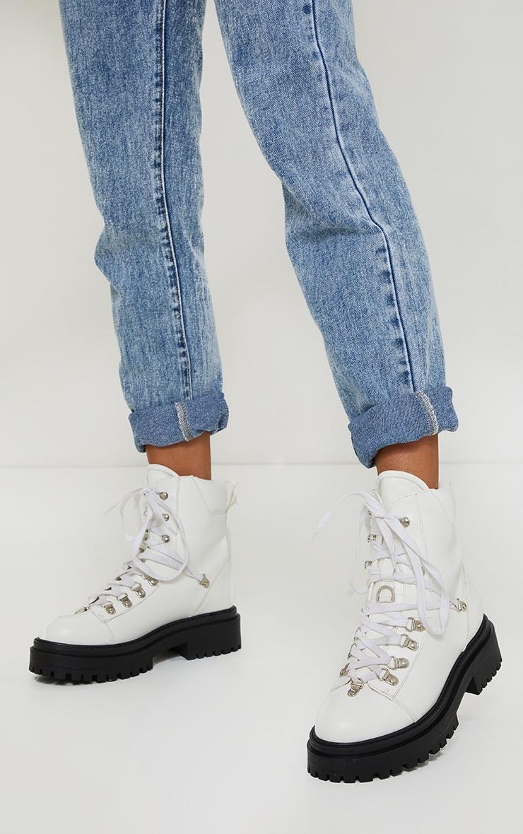 White Pu Lace Up Chunky Hiker Boot 1