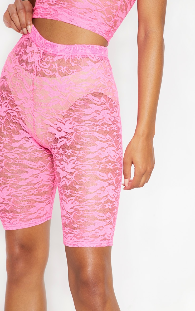 Neon Pink Lace Cycling Shorts 6