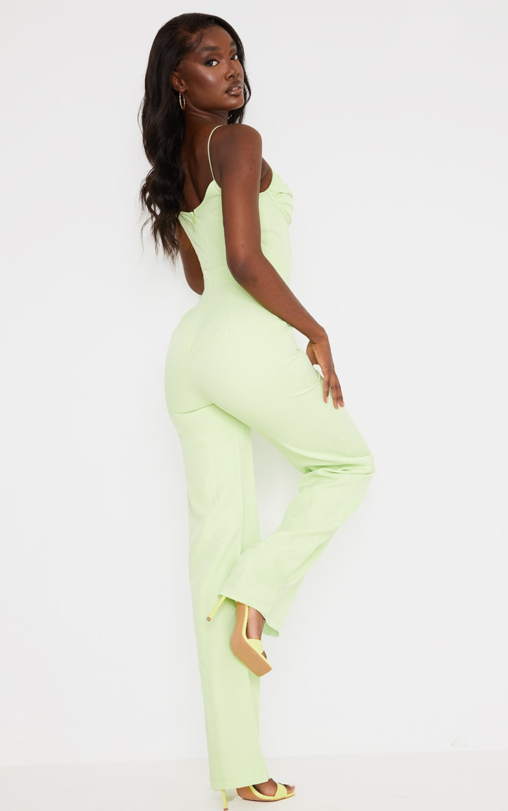 Tall Lime Ruched Cup Corset Detail Wide Leg Jumpsuit 2