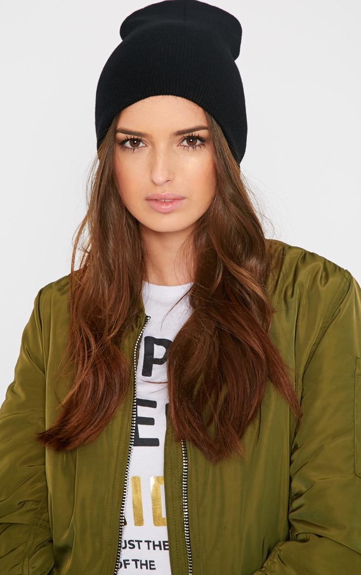 Alice Black Beanie Hat 2