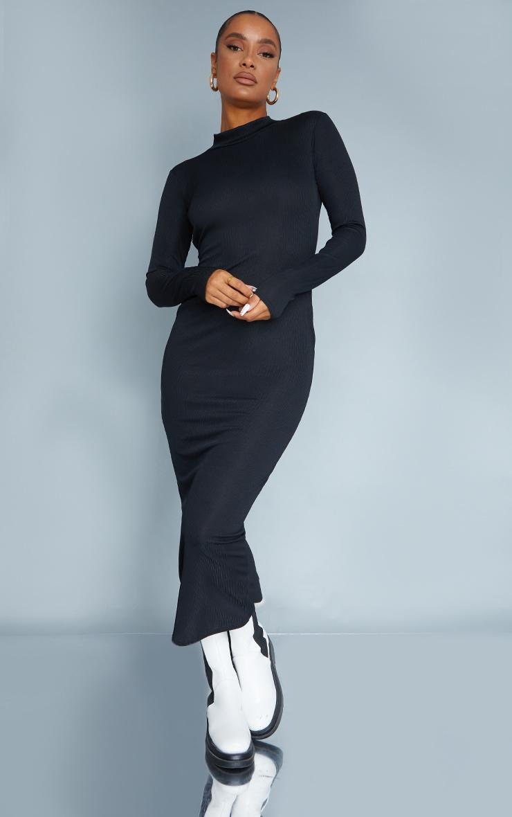 Black Rib Wrap Open Back High Neck Midaxi Dress 2