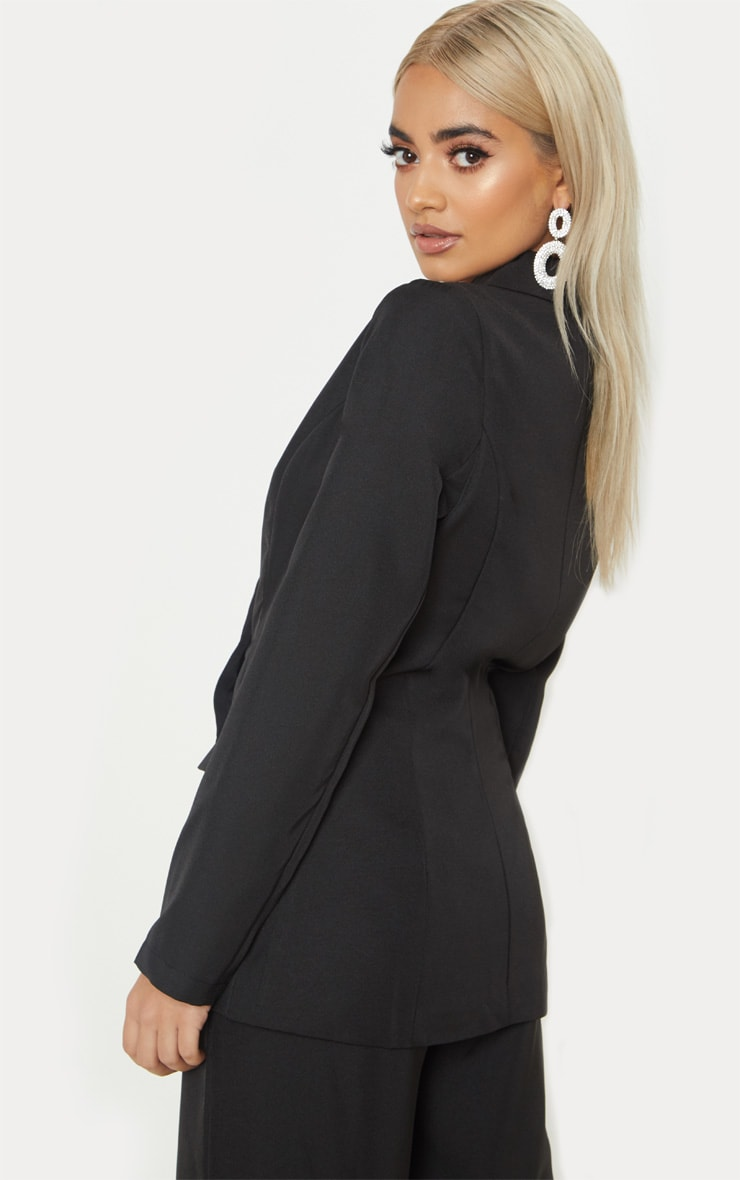 Petite Black Oversized  Button Detail Blazer 2