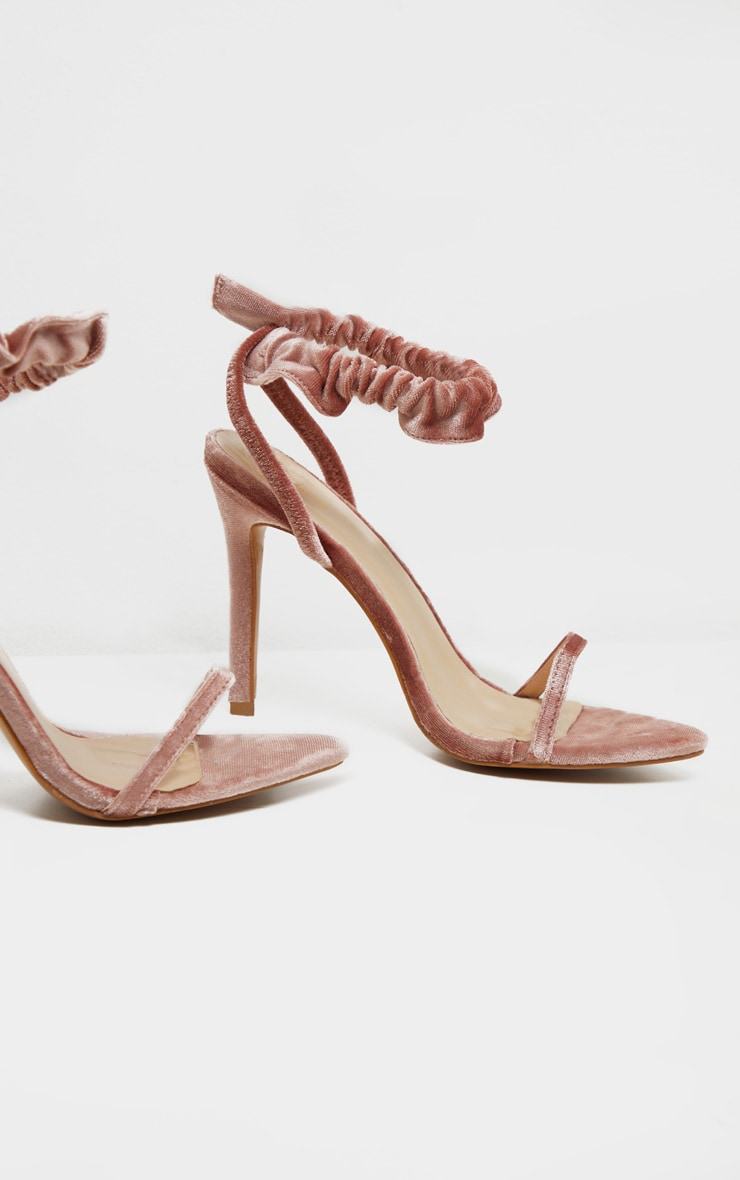 Blush Velvet Ruched Ankle Strap Heeled Sandal 4