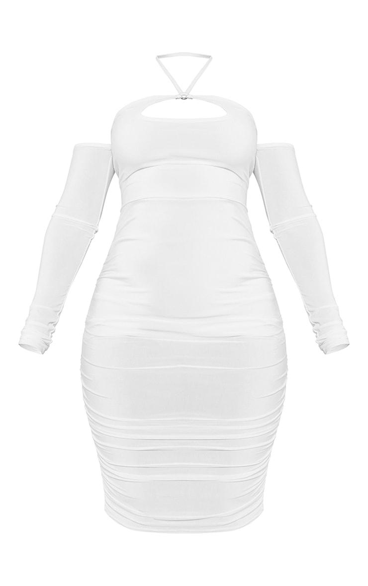 Shape Cream Slinky Ring Tie Neck Bardot Bodycon Dress 5