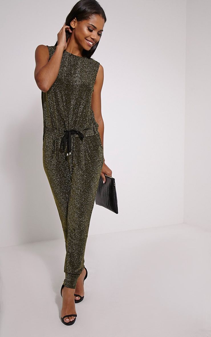 Monet Gold Glitter Jumpsuit 4