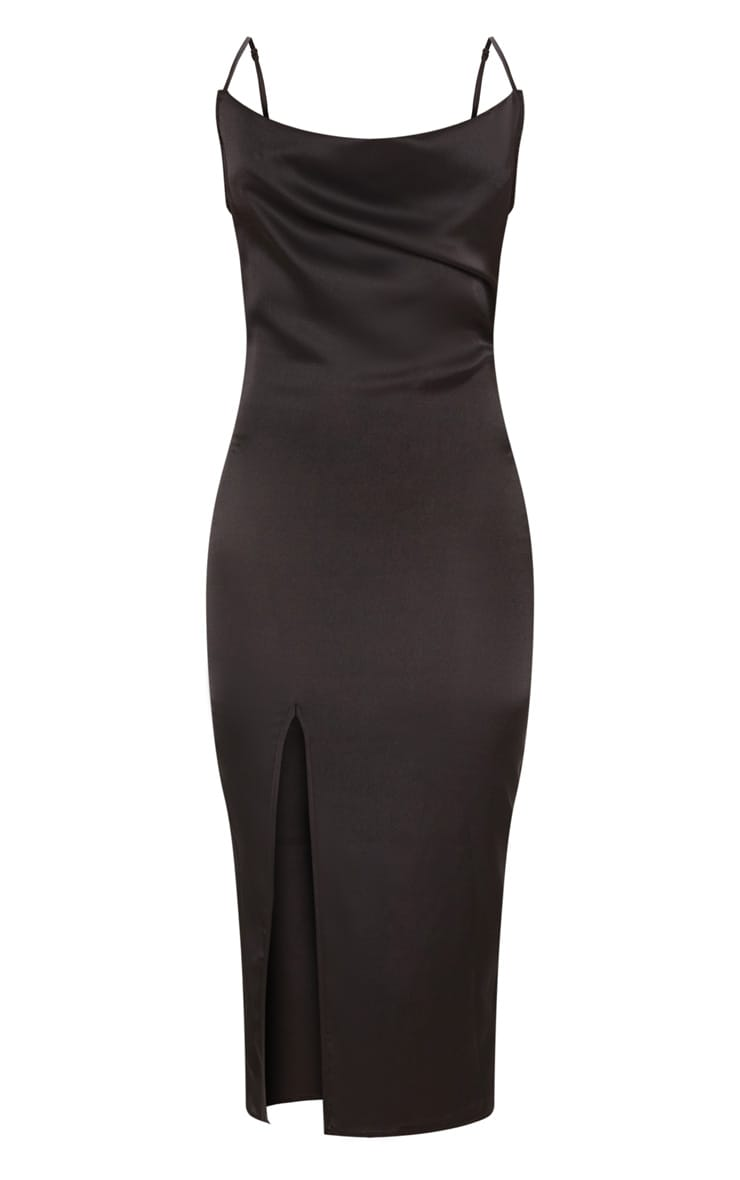 Black Strappy Satin Cowl Midi Dress 3