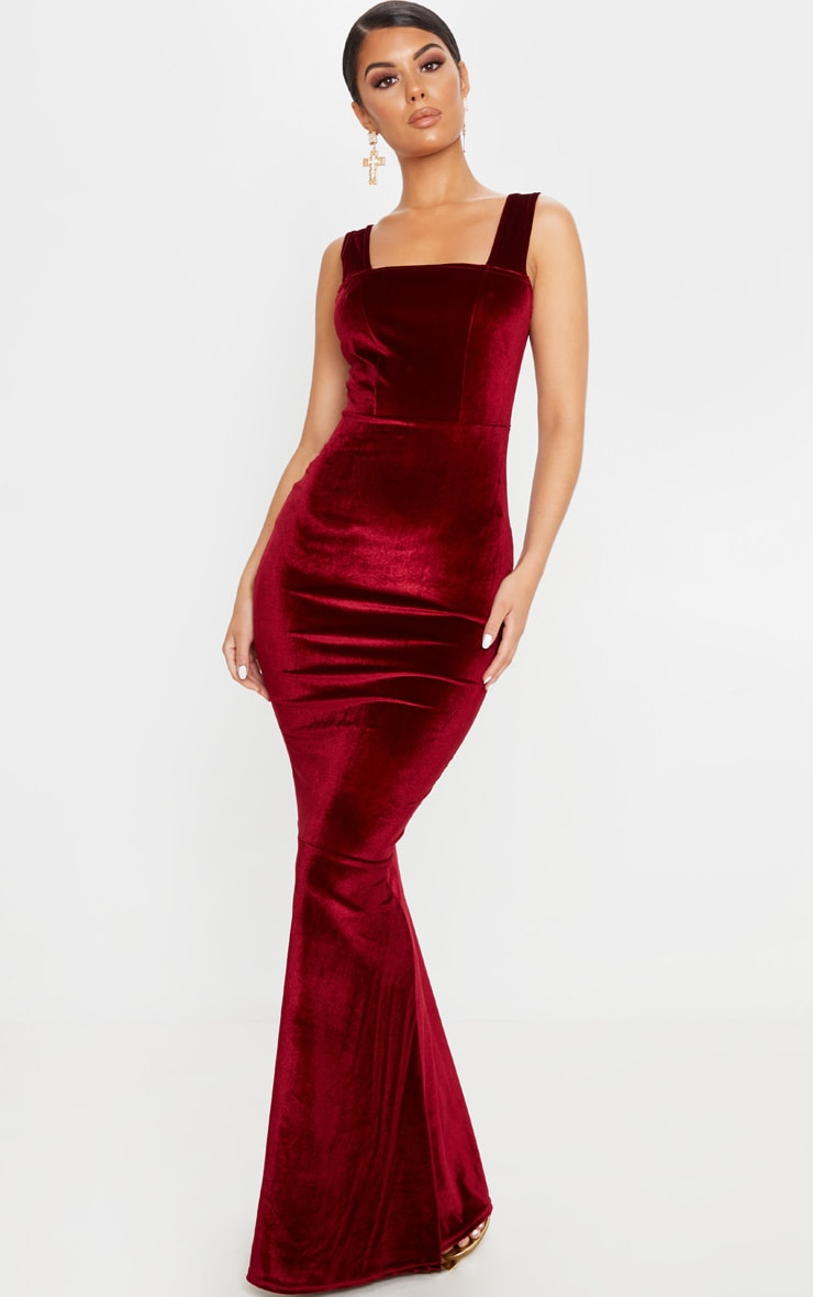 Burgundy Velvet Square Neck Fishtail Maxi Dress 1