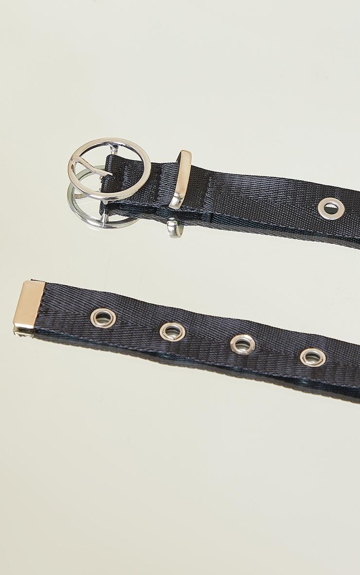 Black Skinny Eyelet Belt 3