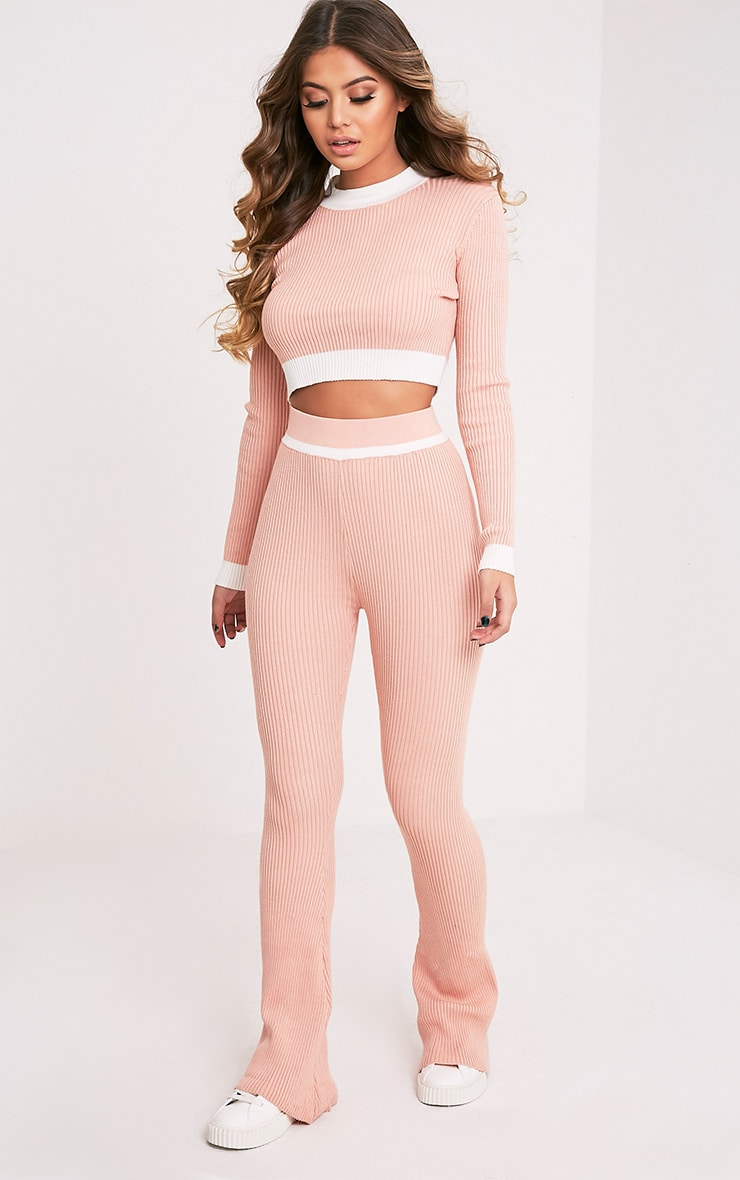 Sufiya Nude Colour Block Knit Ribbed Trousers 1