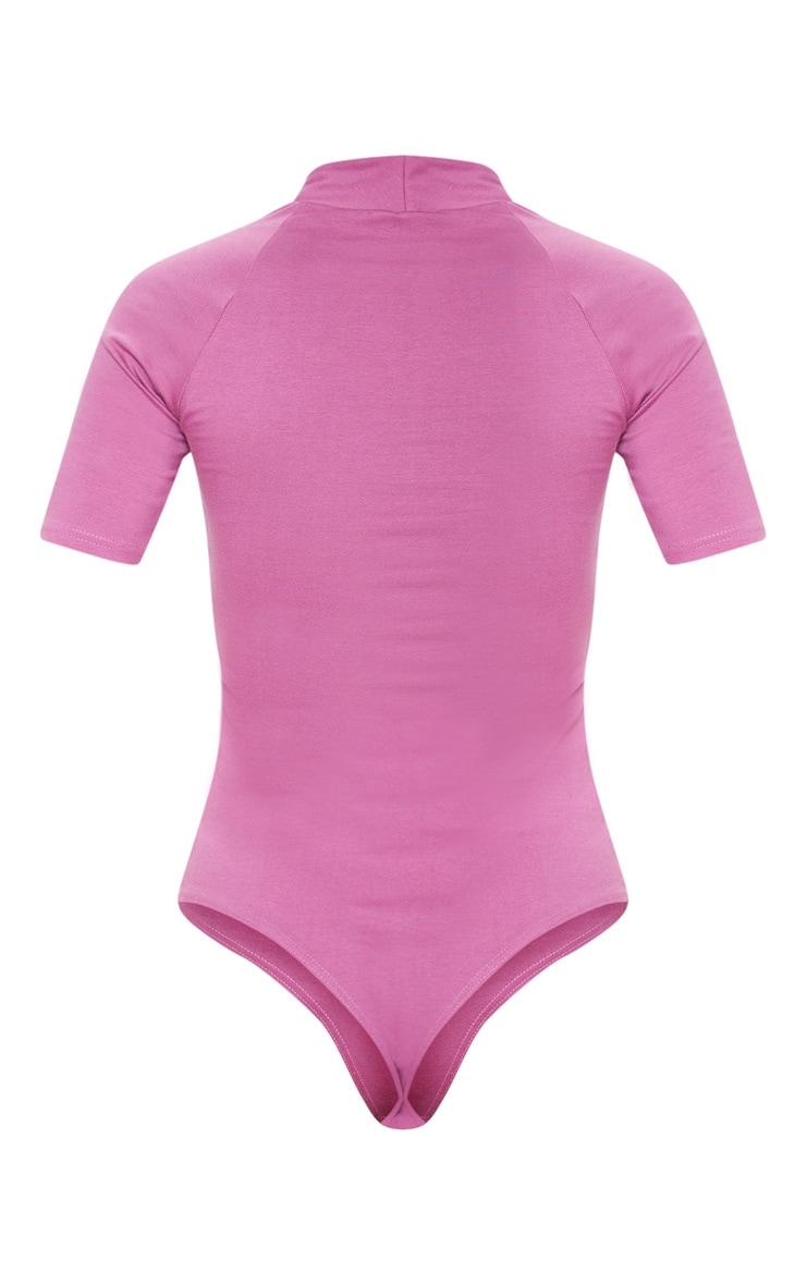 Washed Violet High Neck Cotton Thong Bodysuit 4