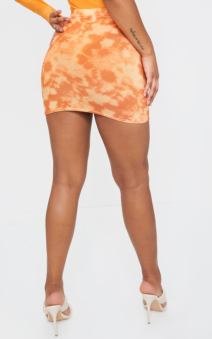 Orange Tie Dye Print Mini Skirt 3