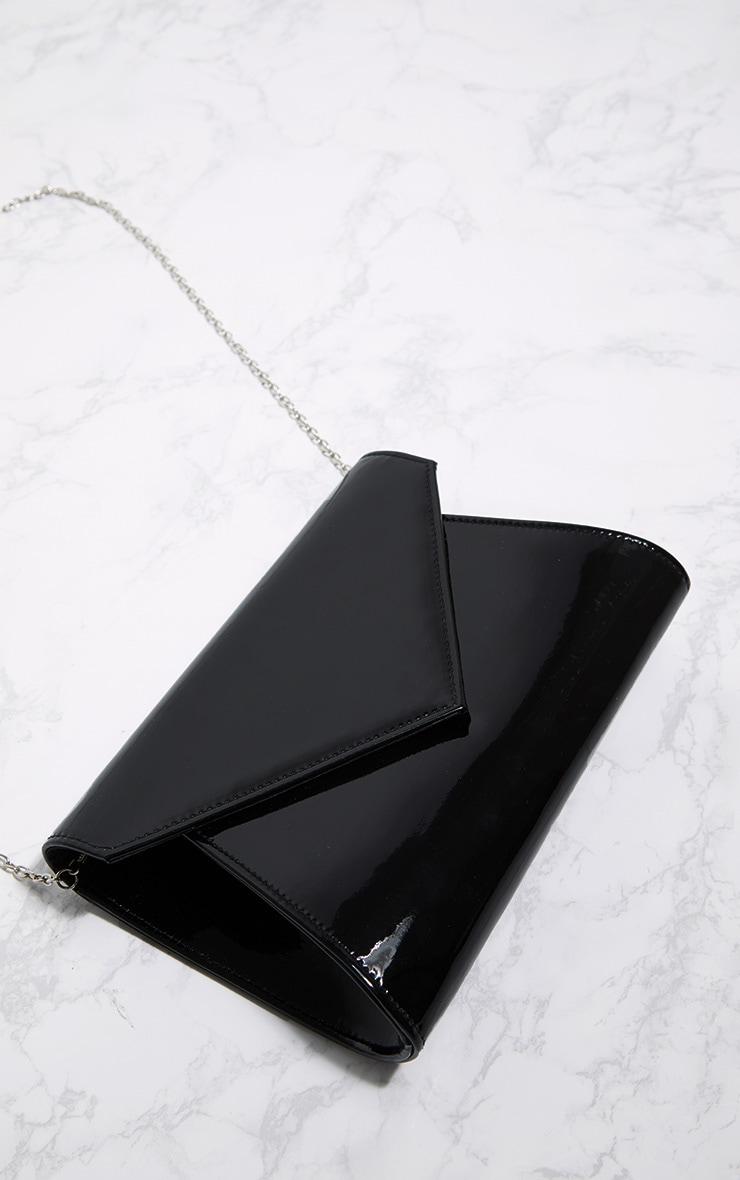 Black Patent Metallic Chain Cross Body Bag 3