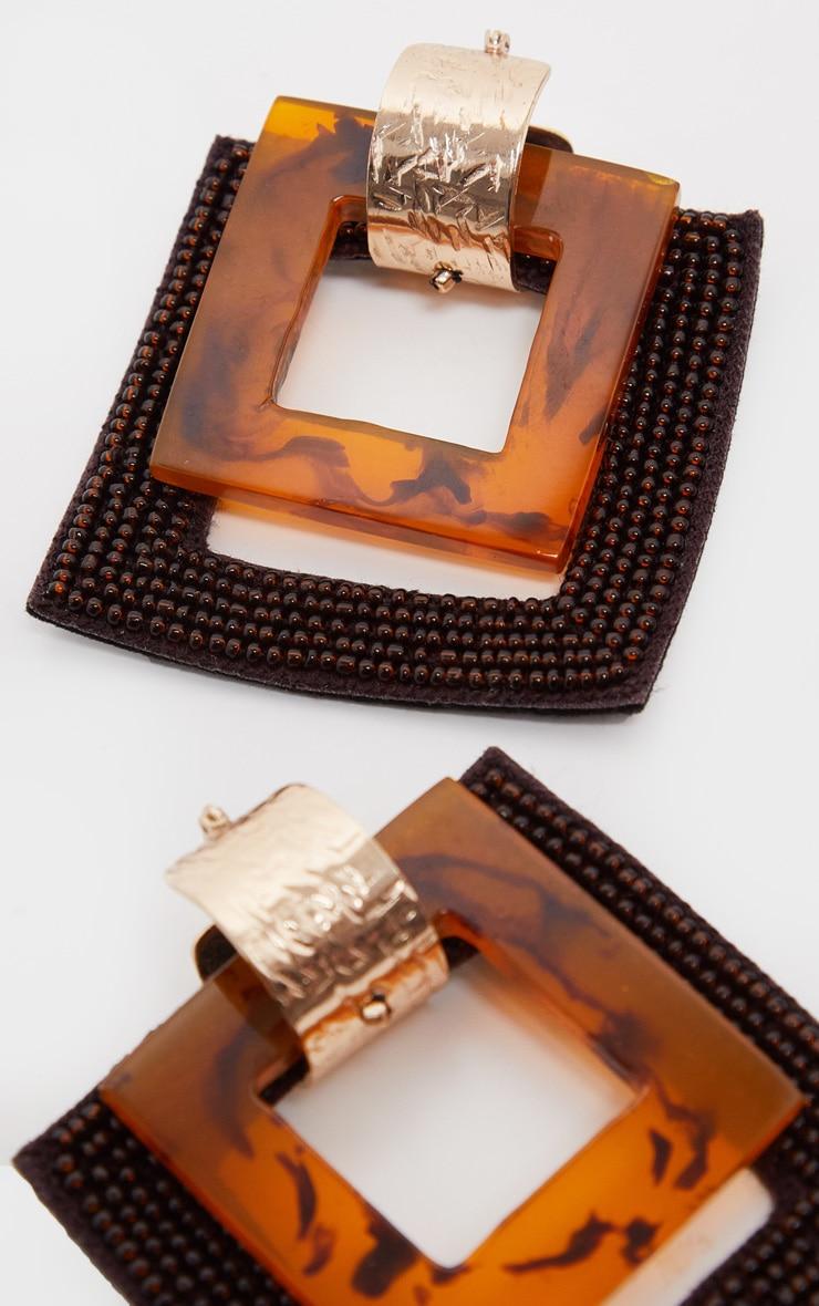 Brown Beaded  Square Drop Earrings 1
