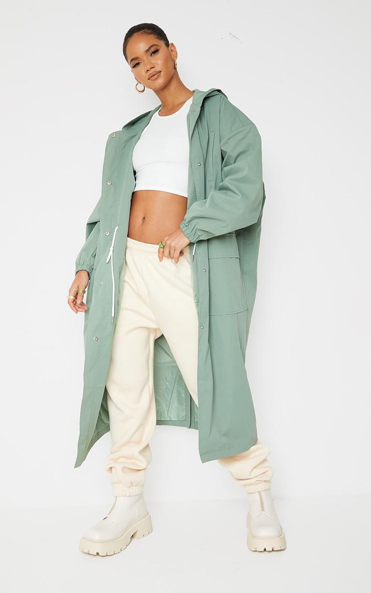 PRETTYLITTLETHING Khaki Elastic Waist Drop Shoulder Trench Coat 1