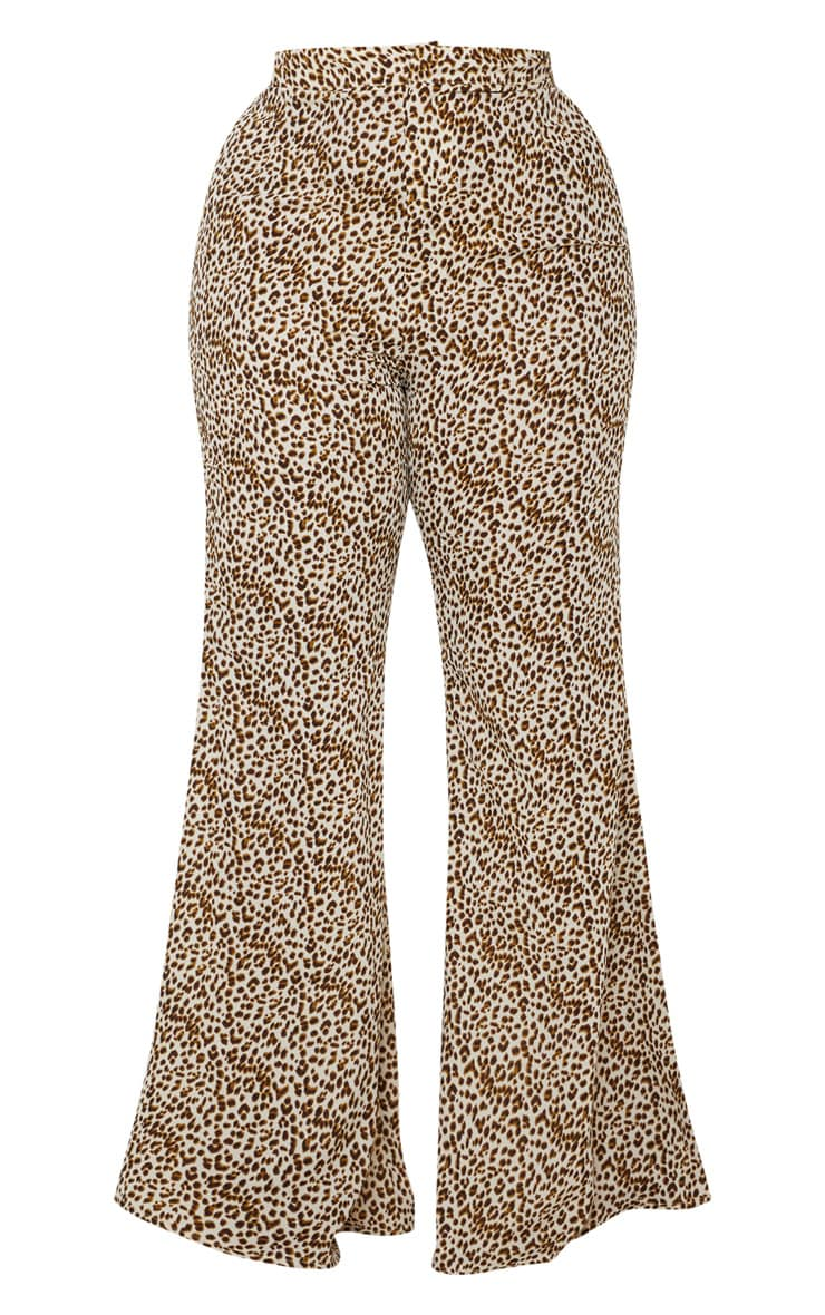 Plus Cream Leopard Print Satin High Waisted Flare Leg Trouser  3