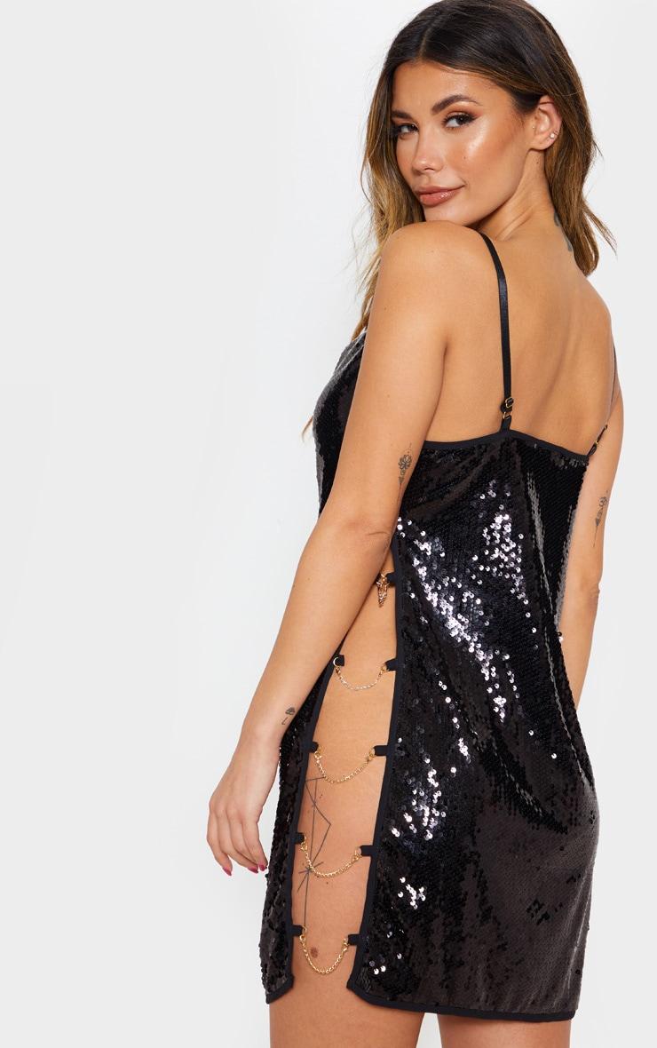 Black Sequin Chain Side Detail Bodycon Dress 2